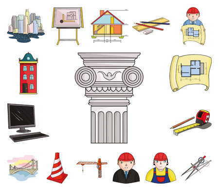 Architecture and construction cartoon icons in set collection for design. Architect and equipment vector symbol stock web illustration. Vetores