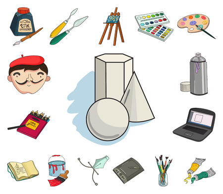 Painter and drawing cartoon icons in set collection for design. Artistic accessories vector symbol stock web illustration.