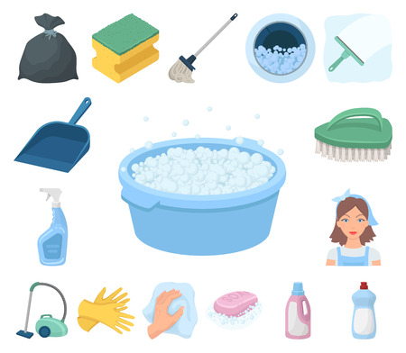 Cleaning and maid cartoon icons in set collection for design. Equipment for cleaning vector symbol stock web illustration. Vettoriali