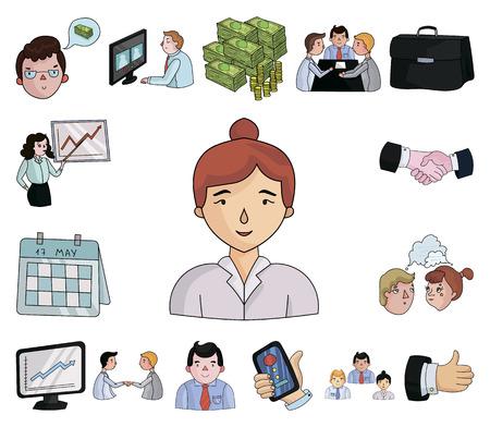 Geschäftskonferenz- und Verhandlungskarikaturikonen in der Satzsammlung für Design. Geschäfts- und Trainingsvektorsymbolvorrat-Netzillustration.