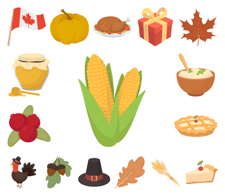 Canada Thanksgiving Day cartoon icons in set collection for design. Canada and Tradition vector symbol stock web illustration.