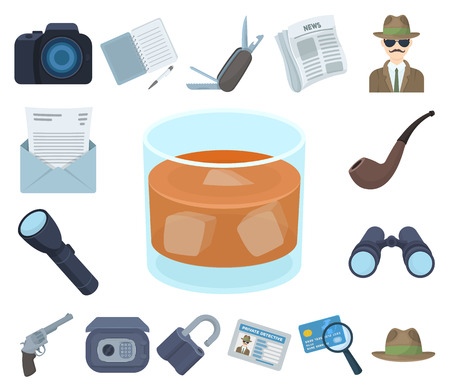 Detective and Attributes cartoon icons in set collection for design.Detective Agency vector symbol stock web illustration.