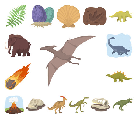 Different dinosaurs cartoon icons in set collection for design. Prehistoric animal vector symbol stock web illustration.