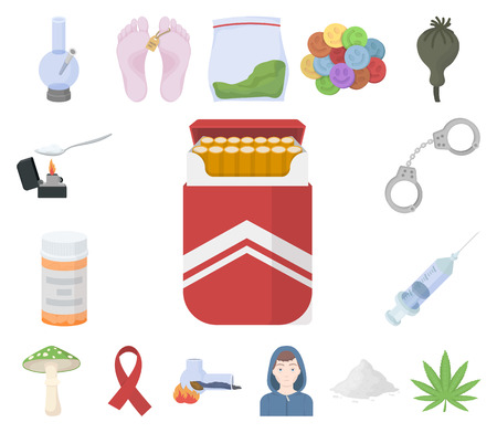 Drug addiction and attributes cartoon icons in set collection for design. Addict and Drug vector symbol stock web illustration. Illustration