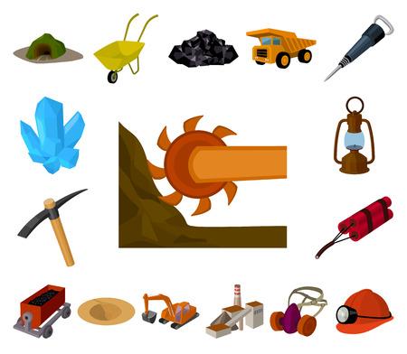 Mining industry cartoon icons in set collection for design. Equipment and tools vector symbol stock web illustration. Vektoros illusztráció