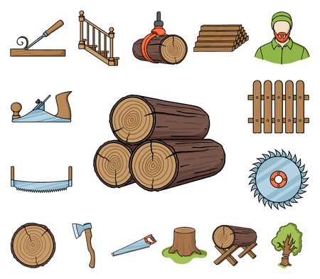 Sawmill and Timber cartoon icons in set collection for design. Hardware and Tools vector symbol stock web illustration. Vector Illustration