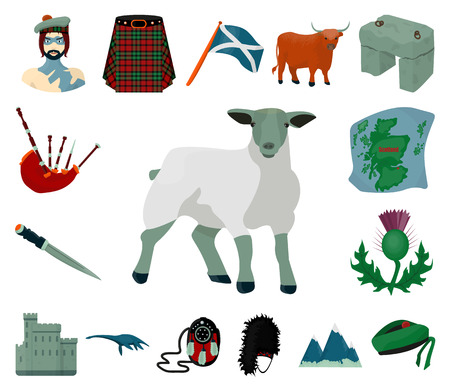 Country Scotland cartoon icons in set collection for design. Sightseeing, culture and tradition vector symbol stock web illustration. Vektoros illusztráció
