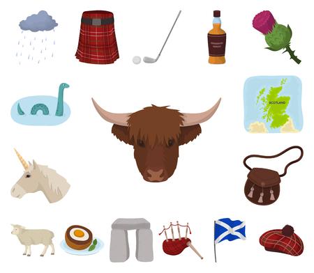 Land-Schottland-Karikaturikonen in der Satzsammlung für Design. Besichtigungs-, Kultur- und Traditionsvektorsymbolvorrat-Netzillustration.