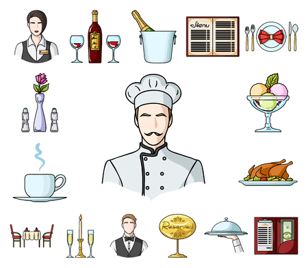 Restaurant and bar cartoon icons in set collection for design. Pleasure, food and alcohol vector symbol stock web illustration.