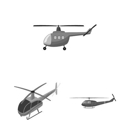 Na białym tle obiekt symbolu helikoptera i pojazdu. Kolekcja helikoptera i ikony wektora ratownictwa na magazynie.