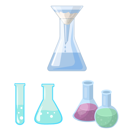 Vector design of flask and laboratory symbol. Set of flask and equipment vector icon for stock.