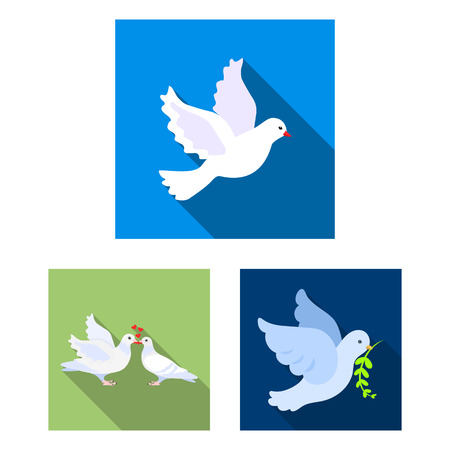Vector design of flying and dove icon. Collection of flying and carrier stock symbol for web.