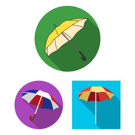 Vector design of umbrella and cloud symbol. Set of umbrella and rain stock vector illustration.