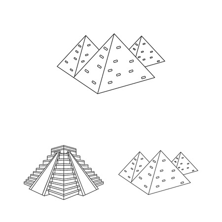 Isolated object of pyramid and egypt sign. Set of pyramid and egypt vector icon for stock.