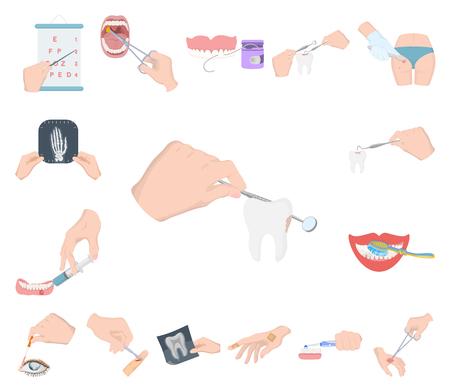 Manipulation par des icônes de dessin animé de mains dans la collection de jeu pour la conception. Mouvement de la main dans l'illustration stock du symbole vecteur médecine.