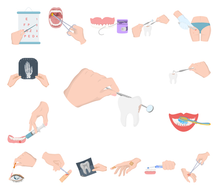 Manipulation by hands cartoon icons in set collection for design. Hand movement in medicine vector symbol stock illustration. Illustration