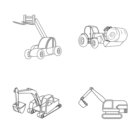 Vector design of front and excavator sign. Set of front and bucket stock symbol for web. Vettoriali