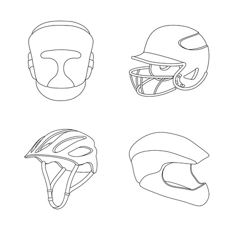Vector illustration of helmet and sport icon. Set of helmet and moto stock vector illustration.