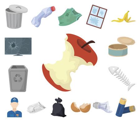 Icônes de dessin animé de déchets et de déchets dans la collection de jeu pour la conception. Nettoyage des ordures vecteur symbole stock illustration web. Vecteurs