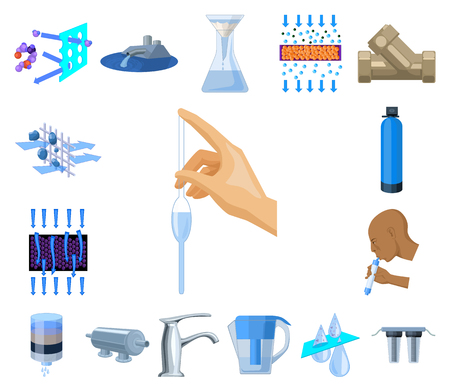 Water filtration system cartoon icons in set collection for design. Cleaning equipment vector symbol stock web illustration.