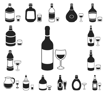 Types of alcohol black icons in set collection for design. Alcohol in bottles vector symbol stock web illustration. Иллюстрация