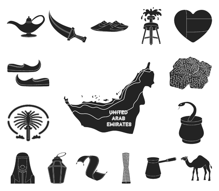 Country United Arab Emirates black icons in set collection for design. Tourism and attraction vector symbol stock web illustration. Illustration