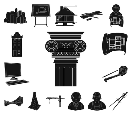 Architecture and construction black icons in set collection for design. Architect and equipment vector symbol stock web illustration.  イラスト・ベクター素材