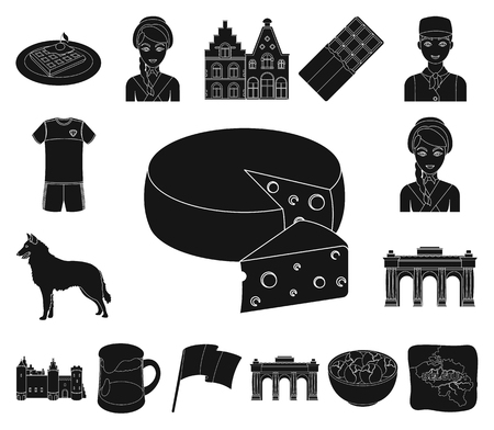 Country Belgium black icons in set collection for design.Travel and attractions Belgium vector symbol stock web illustration.  イラスト・ベクター素材