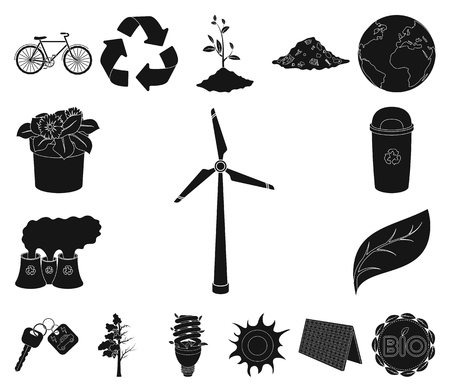 Bio and ecology black icons in set collection for design. An ecologically pure product vector symbol stock web illustration.