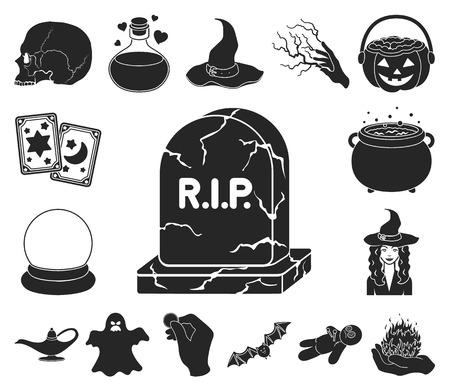 schwarze und weiße magische schwarze Symbole in der Satzsammlung für Design. Attribute und Zauberin Zubehör Vektor Symbol Lager Web-Illustration.