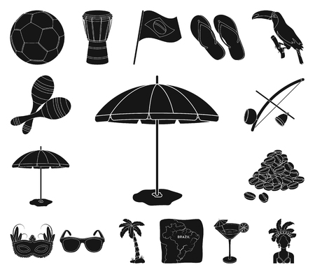 Country Brazil black icons in set collection for design. Travel and attractions Brazil vector symbol stock web illustration.