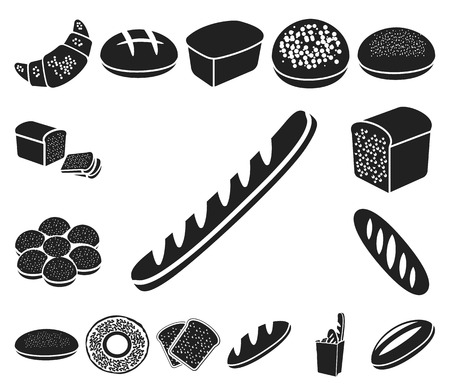 Types of bread black icons in set collection for design. Bakery products vector symbol stock web illustration.