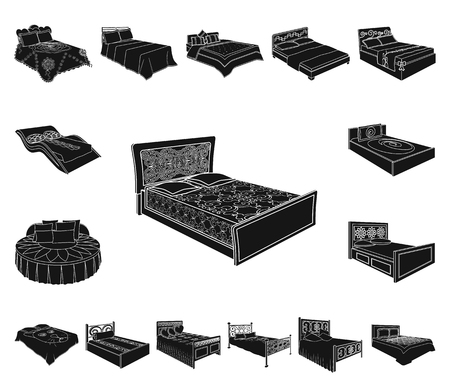 Different beds black icons in set collection for design. Furniture for sleeping vector isometric symbol stock web illustration.