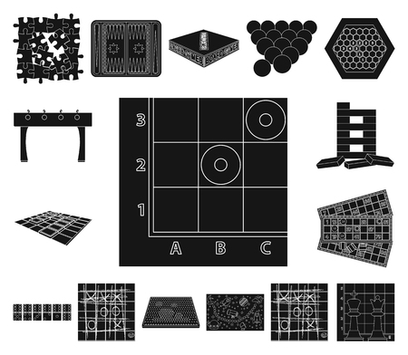 Board game black icons in set collection for design. Game and entertainment vector symbol stock web illustration.
