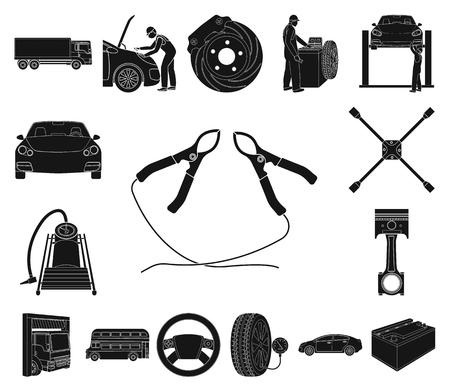 Coche, elevador, bomba y otros equipos iconos negros en conjunto para el diseño. Mantenimiento del coche estación vector símbolo stock ilustración web.
