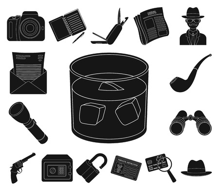 Detective and Attributes black icons in set collection for design.Detective Agency vector symbol stock web illustration. Illustration