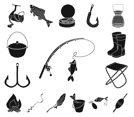 Fishing and rest black icons in set collection for design. Tackle for fishing vector symbol stock web illustration.