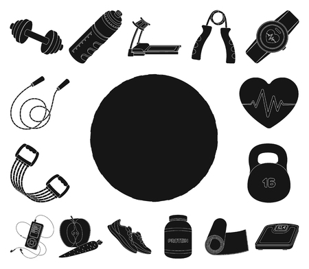 Gym and training black icons in set collection for design. Gym and equipment vector symbol stock illustration.