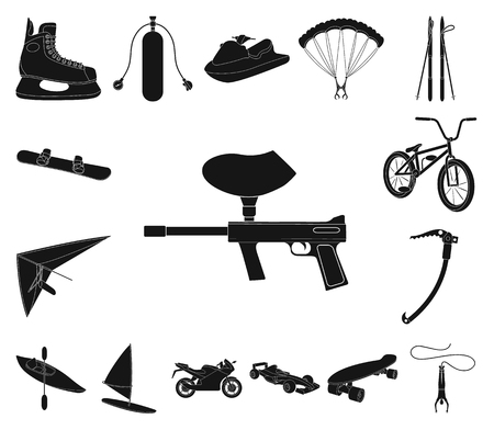 Extreme sport black icons in set collection for design.Different kinds of sports vector symbol stock web illustration.