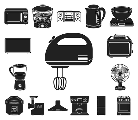 Types of household appliances black icons in set collection for design.Kitchen equipment vector symbol stock web illustration. Vectores