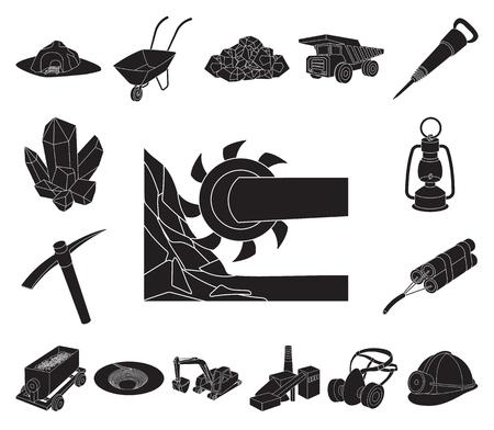 Mining industry black icons in set collection for design. Equipment and tools vector symbol stock web illustration. Vektoros illusztráció