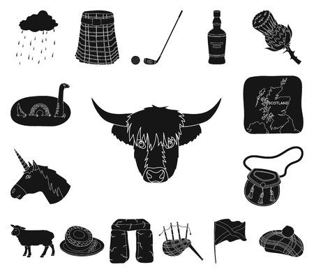 Land Schottland schwarze Symbole in Set-Sammlung für Design. Sightseeing-, Kultur- und Traditionsvektorsymbolvorrat-Netzillustration.
