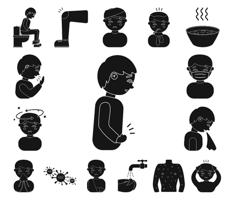 The sick man black icons in set collection for design. Illness and treatment vector symbol stock web illustration.