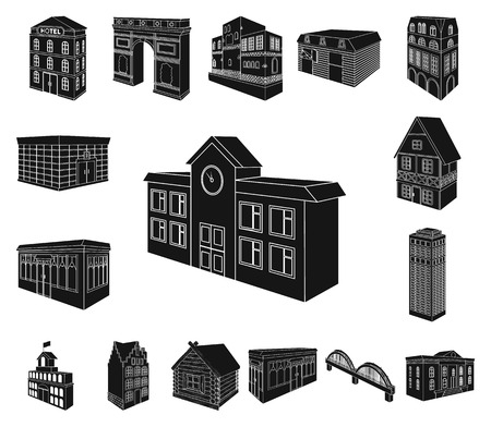 Building and architecture black icons in set collection for design.The building and dwelling vector isometric symbol stock web illustration.