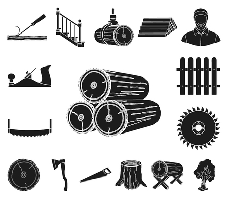 Sawmill and Timber black icons in set collection for design. Hardware and Tools vector symbol stock web illustration.