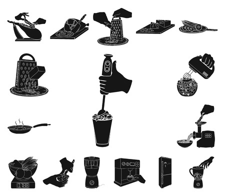 Cooking food black icons in set collection for design. Kitchen, equipment and tools vector symbol stock web illustration. Illustration