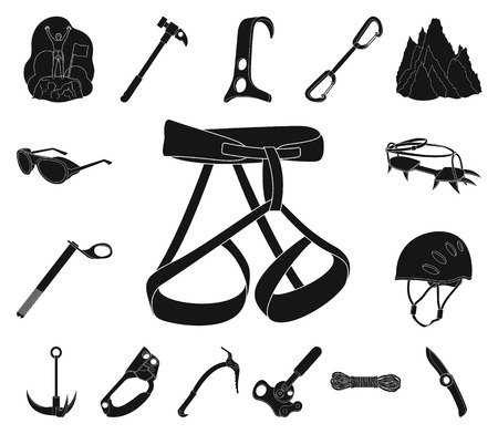 Mountaineering and climbing black icons in set collection for design. Equipment and accessories vector symbol stock web illustration. Reklamní fotografie - 113269194