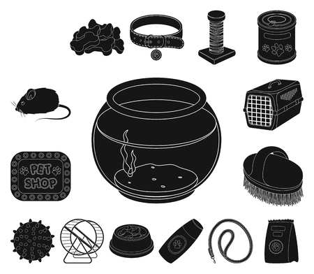 Pet shop black icons in set collection for design.The goods for animals vector symbol stock web illustration.