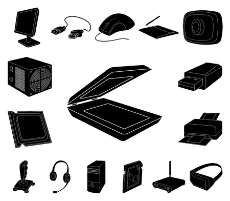 Personal computer black icons in set collection for design. Equipment and accessories vector symbol stock web illustration. Фото со стока - 113269206