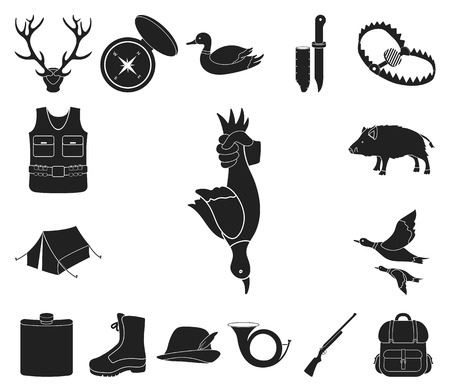 Hunting and trophy black icons in set collection for design. Hunting and equipment vector symbol stock web illustration. Illustration